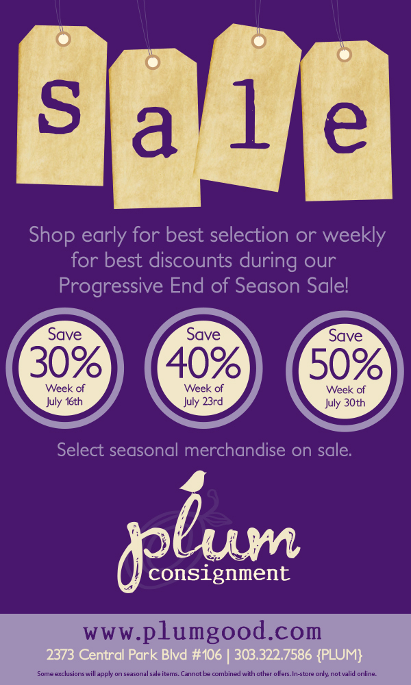 Plum's Progressive End Of Season Sale!