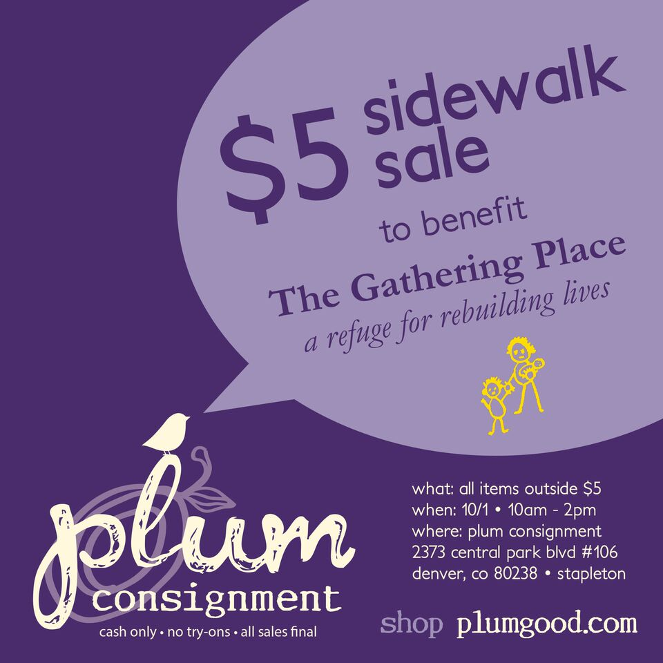 $5 Sidewalk Sale to benefit The Gathering Place, Saturday 10/1/16 10am-2pm